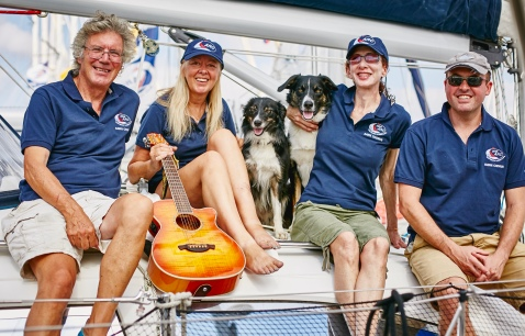 one of the many pics taken by yachting magazines of the handsome hounds (and the rest of us!